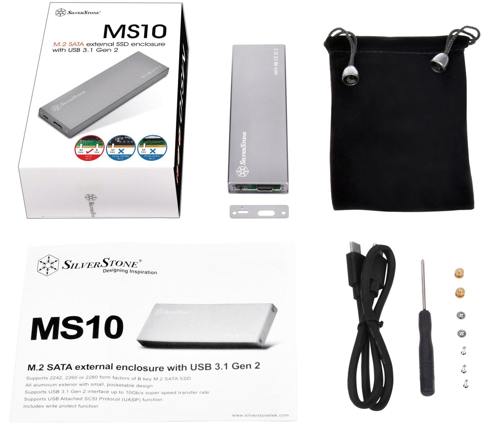 Image 2 : SilverStone : boîtier externe pour SSD SATA M.2 en USB Type-C, jusqu'à 10 Gbit/s