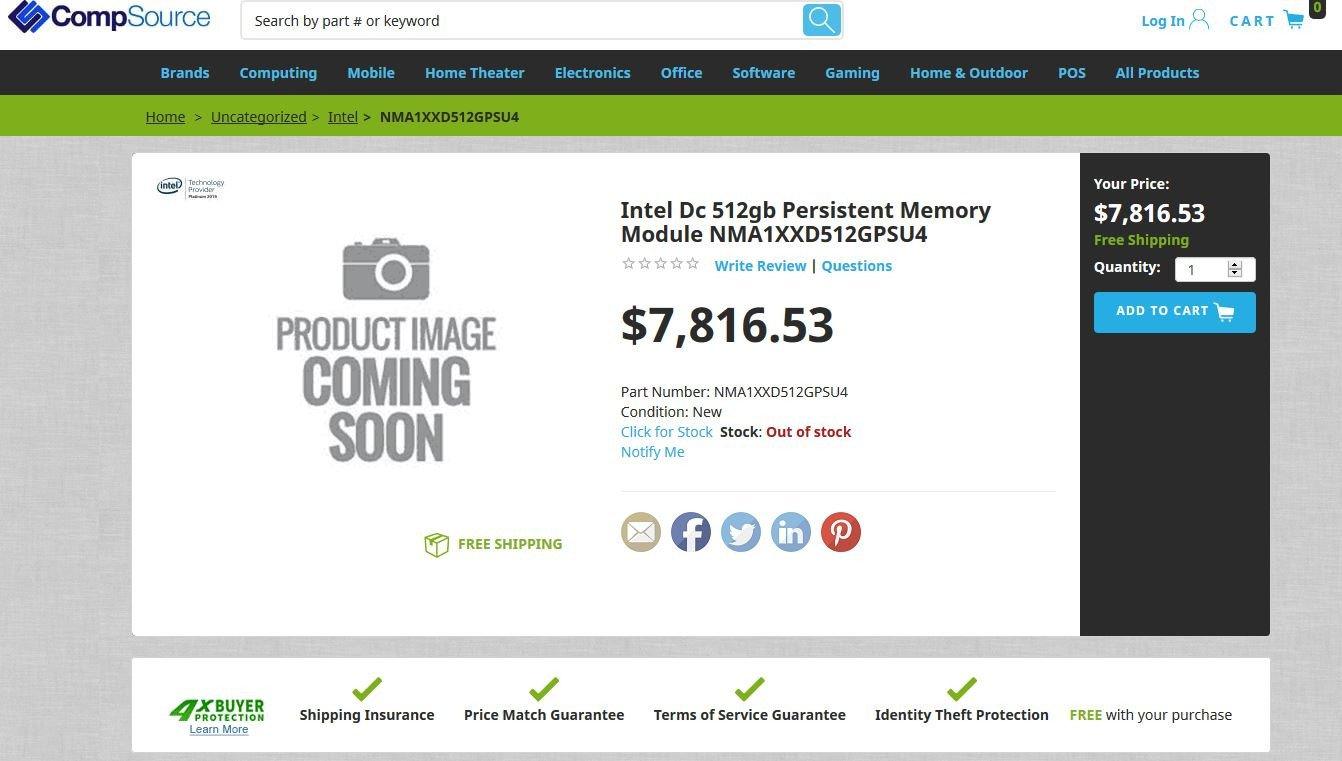 Image 1 : Intel : plus de 7800 dollars pour 512 Go de mémoire Optane non volatile !