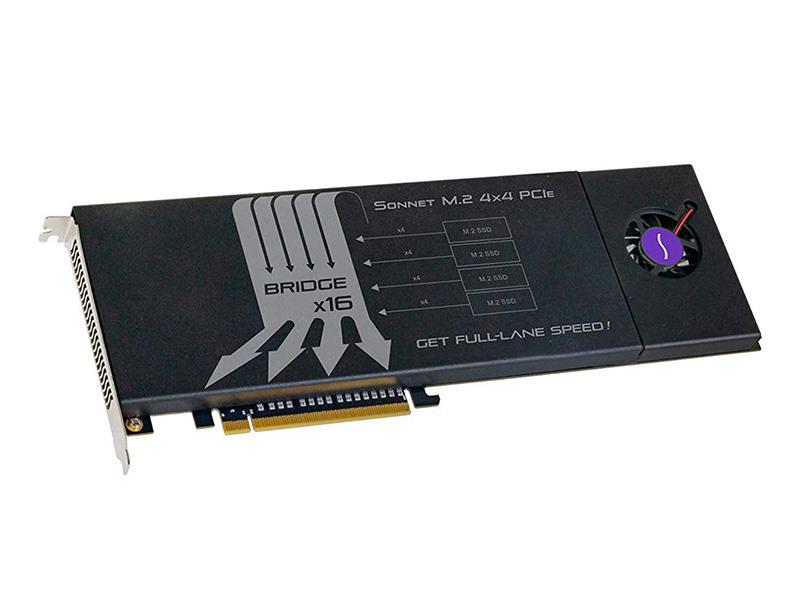 Image 1 : Sonnet : une carte PCIe qui peut embarquer quatre SSD M.2 pour monter à 12 Go/s