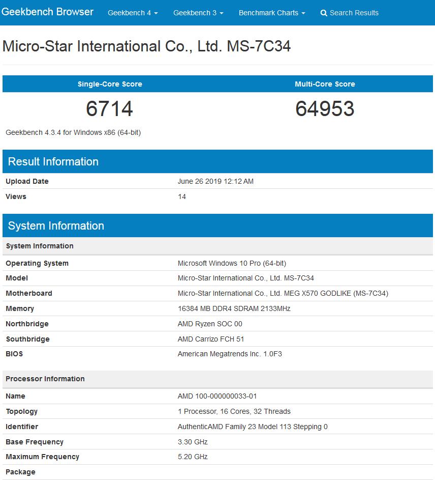 Image 1 : Benchmark d'un Ryzen 9 à 16 cœurs overclocké à 5,2 GHz !