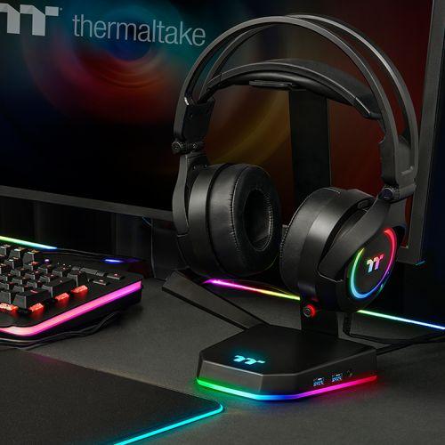 Image 3 : Thermaltake : un support de casque avec une base RGB et un hub USB