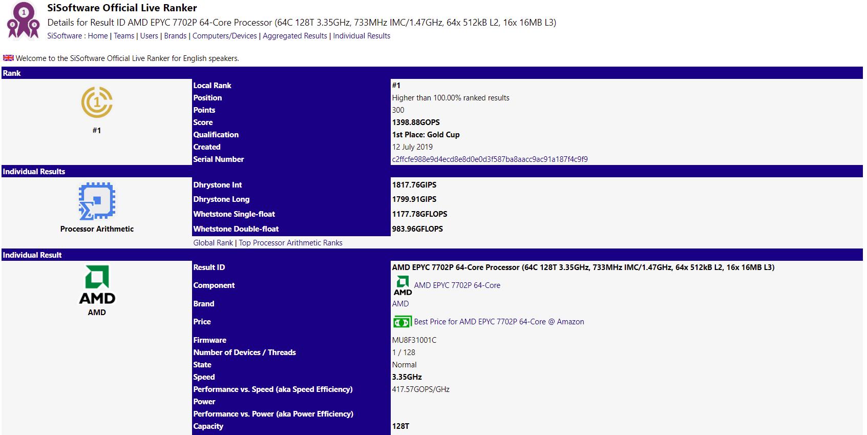 Image 1 : AMD EPYC Rome : le 7702P détrônerait le Xeon W-3175X sur SiSoftware !