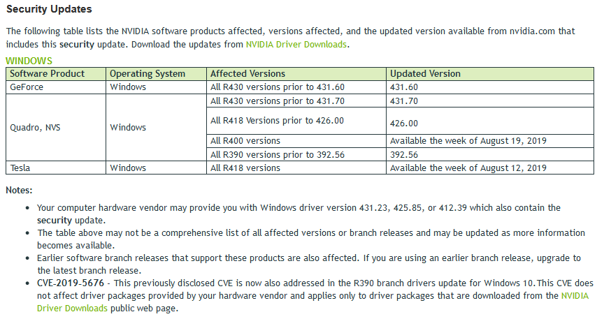 Image 2 : NVIDIA : cinq grosses failles de sécurité corrigées dans les derniers pilotes