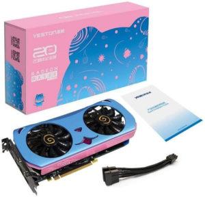 Image 3 : Une carte AMD RX 580 toute rose et bleue, avec un chat en prime !