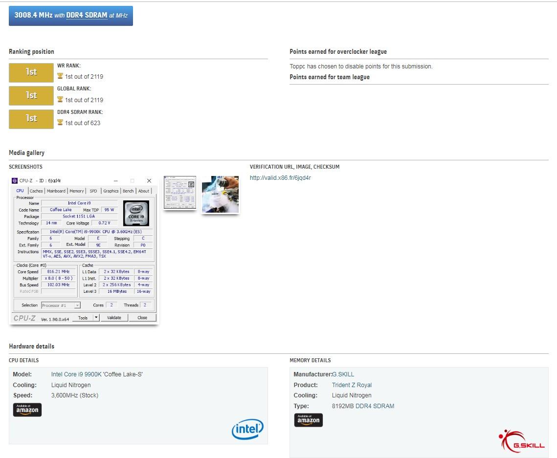 Image 2 : Nouveau record : la DRAM G.Skill poussée en DDR4-6016 !