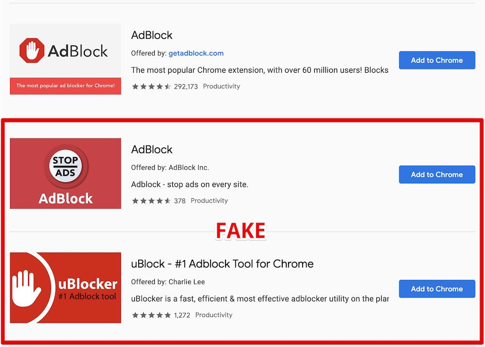 Image 1 : Attention, de faux AdBlock et uBlock sévissent sur le Google Chrome Web Store !