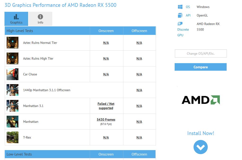 Image 1 : Une Radeon RX 5500 apparaît dans les résultats du benchmark GFXBench