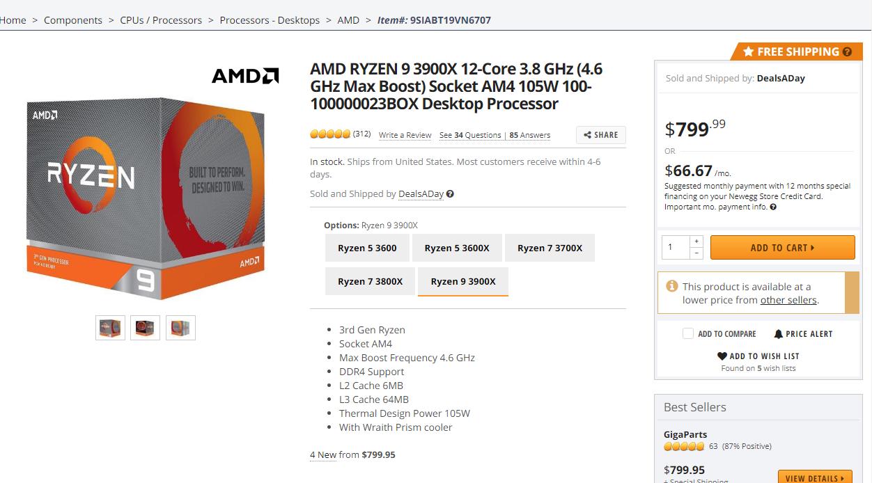 Image 1 : Le CPU Ryzen 9 3900X se fait rare, et son prix flambe un peu partout