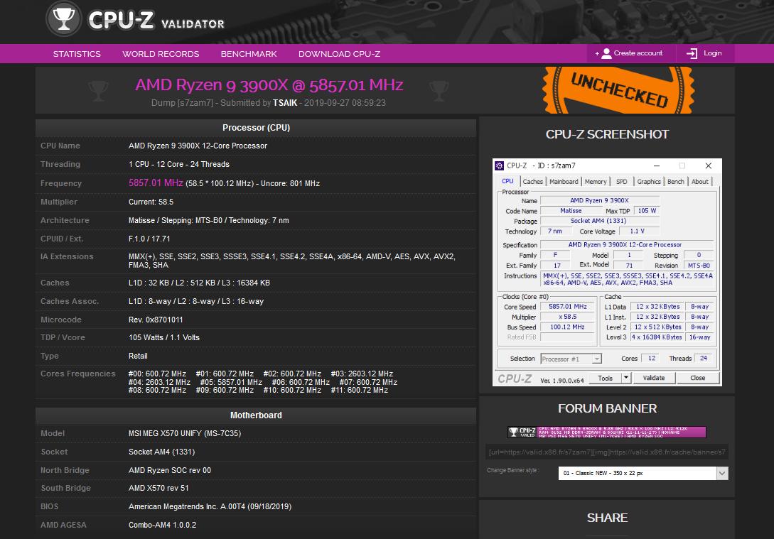 Image 1 : Record pour l'AMD Ryzen 9 3900X : un coeur à 5857 MHz sur une carte mère MSI