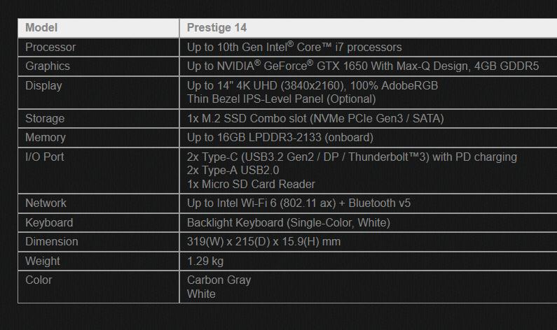 Image 1 : MSI propose un PC portable Prestige 14 d'un vrai blanc immaculé