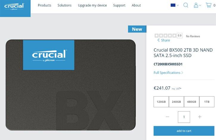 Image 1 : Crucial ajoute des versions 1 et 2 To à ses SSD BX500