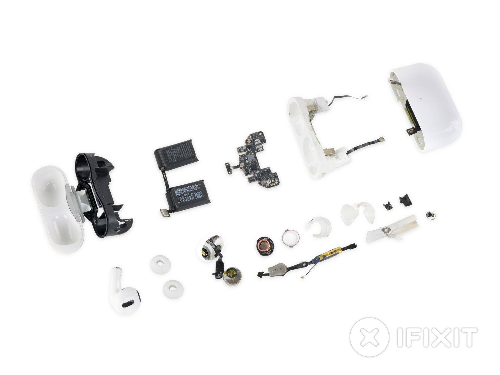 Image 1 : Démontage des Airpods Pro : superbe miniaturisation, zéro réparabilité