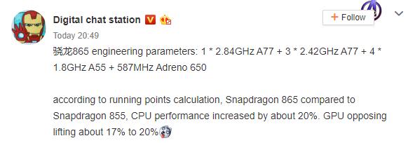 Image 1 : Le Snapdragon 865 s'annoncerait 20 % plus rapide que le 855