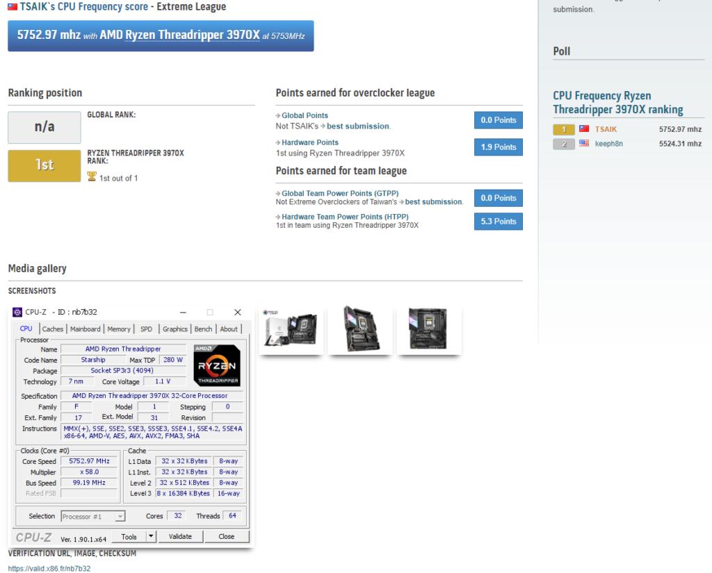 Image 1 : Record : le Threadripper 3970X poussé à 5752 MHz sur ses 32 cœurs sous azote