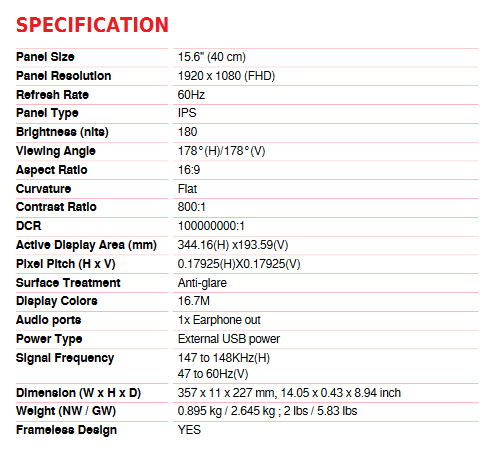 Image 2 : MSI propose l'Optix MAG161V, un écran externe pesant moins de 900 grammes