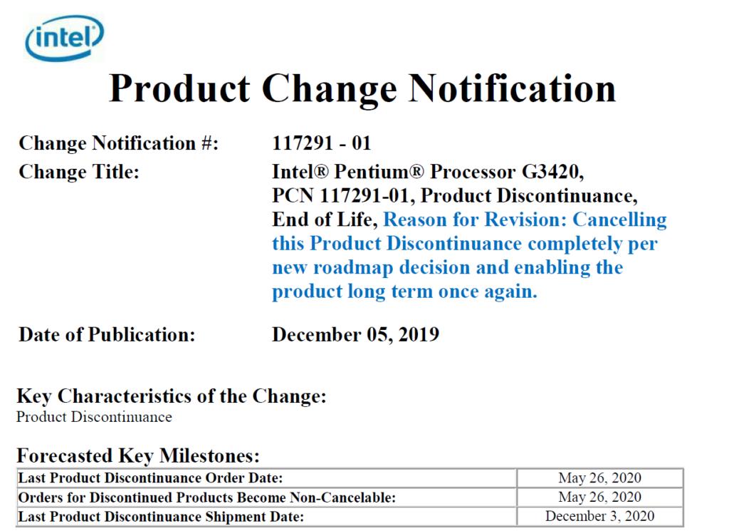 Image 1 : Face à la pénurie, Intel ressuscite un Pentium de 2013 !