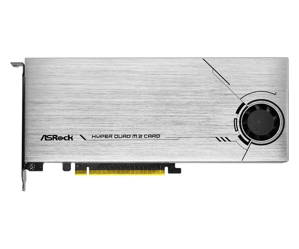 Image 1 : Au tour d'ASRock de lancer une carte PCIe 4.0 x16 qui embarque quatre SSD M.2