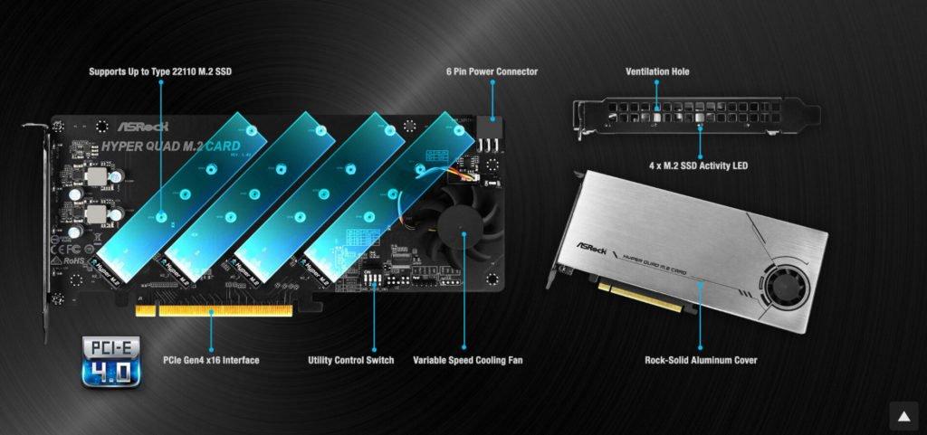 Image 2 : Au tour d'ASRock de lancer une carte PCIe 4.0 x16 qui embarque quatre SSD M.2