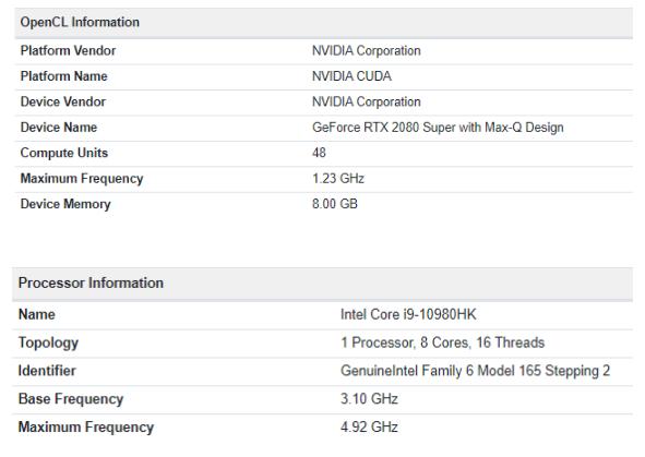 Image 1 : Une RTX 2080 Super Max-Q surgit dans GeekBench