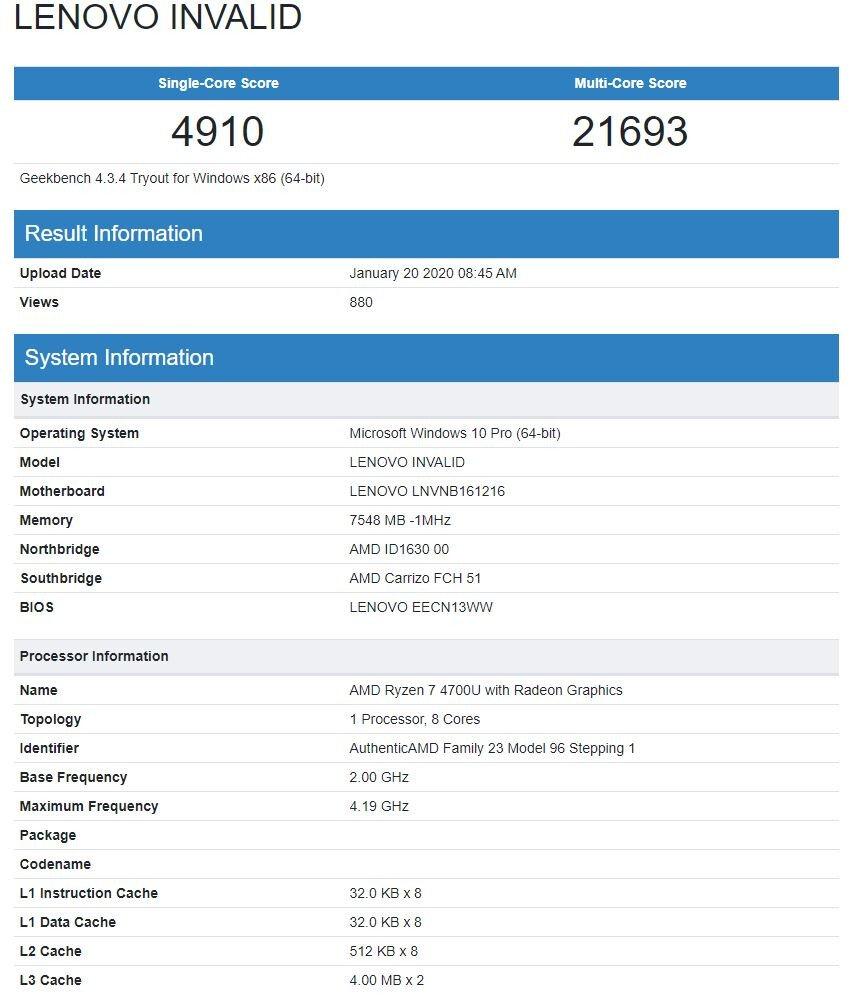 Image 1 : Le Ryzen 7 4700U marque 21 693 points en test multicœur sur GeekBench
