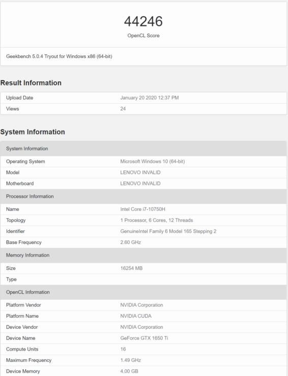 Image 1 : Des GTX 1650 Super et Ti mobiles apparaissent sur GeekBench
