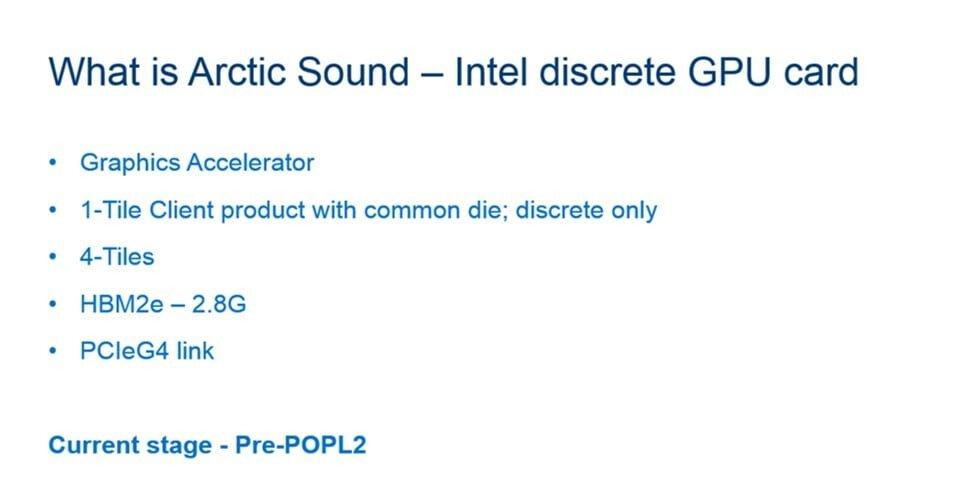 Image 2 : Quatre GPU listés chez Intel, avec des TDP de 75 à 500 W