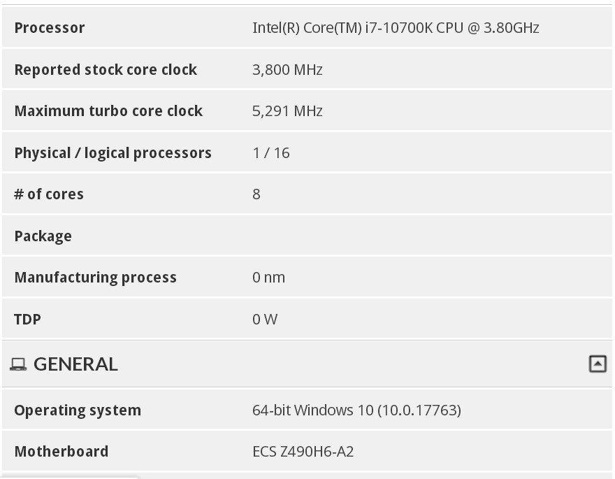 Image 1 : Le Core i7-10700K monte à 5,3 GHz en mode Turbo