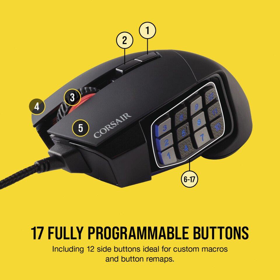 Image 2 : Corsair fait passer sa souris Scimitar RGB en mode Elite : jusqu'à 18 000 DPI